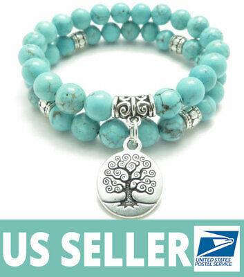 Genuine Turquoise Bracelet With Buddha Reiki Throat Chakra Healing