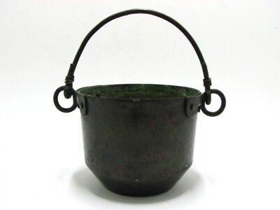 Antiker Kupfer Korb, Schüssel, Unikat Handwerk, Bowl Mit Handgriff, Grün Patina