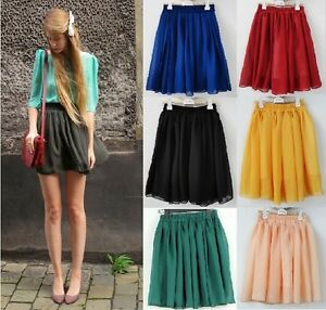 Vintage-Women-Girl-High-Waist-Pleated-Double-layer-Chiffon-Short-Mini-Skirt