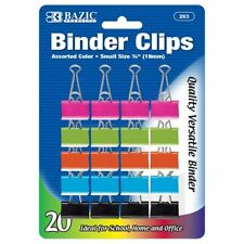 Pack Of 20 Binder Clips 34 Inch 19mm Metal Assorted Colored Small Binder Clip