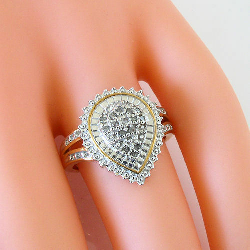 14k Yellow Gold Vermeil Over Sterling .10 Ct Diamond Pear Shaped Cocktail Ring 7