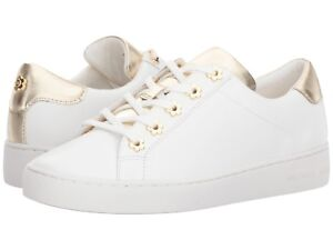 d3ed643006ceb 9.5M MICHAEL KORS IRVING LACE UP LEATHER WOMEN S WHITE GOLD FLAT ...