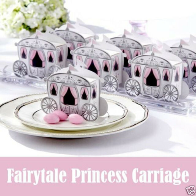 50/100/200PCS Enchanted Carriage Cinderella Wedding Party Favor Candy Boxes