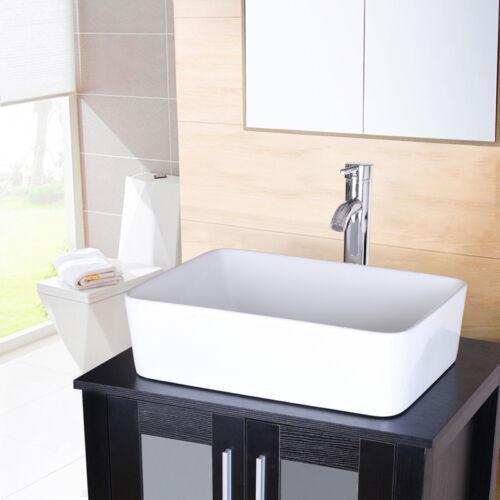 "24"" Black Bathroom Vanity Rectangle Ceramic Vessel Sink Set W//Faucet Basin Bowl"