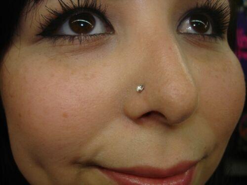 20 Gauge Nose Bone 1pcs 1//4 Long CZ Gem Buy 1 Get 1 Free USA