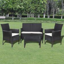 vidaXL Garden Lounge Set 7 Pieces Wicker Poly Rattan Black Outdoor Sofa Table