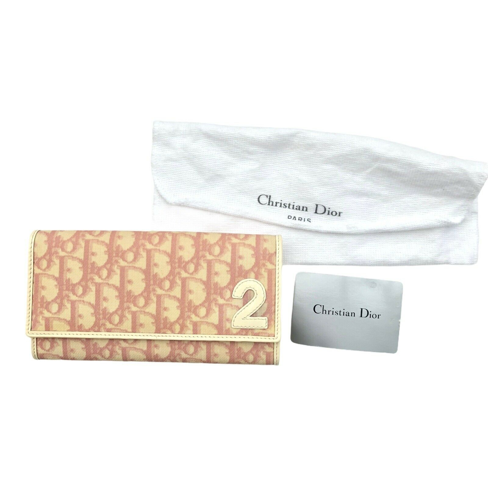 Christian Dior Trotter Logo Vintage Wallet Pink PVC Authentic