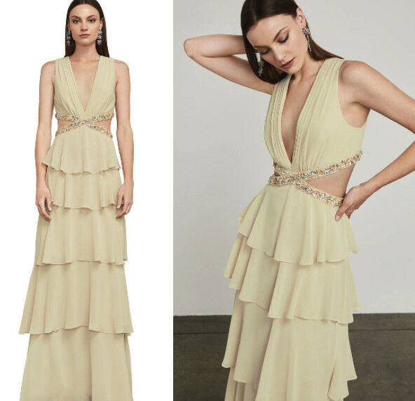 NWT BCBG MAXAZRIA Thassia Beading-Trimmed Gown Dress REGAL CHAMPAGNE Size 4