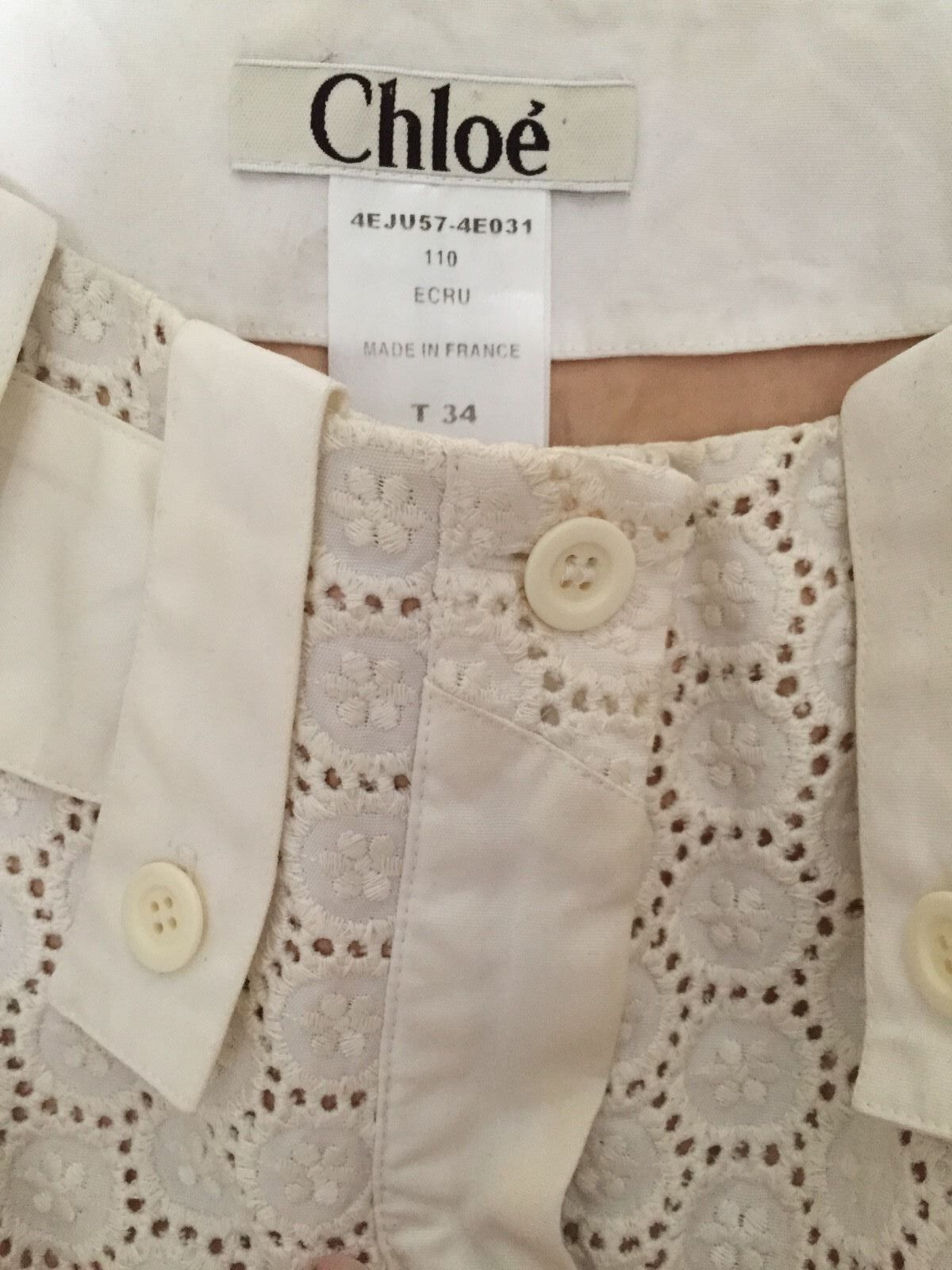 CHLOE WHITE CREAM NUDE EYELET SKIRT 34 GORGEOUS   ELEGANT   COLLECTORS CALLING
