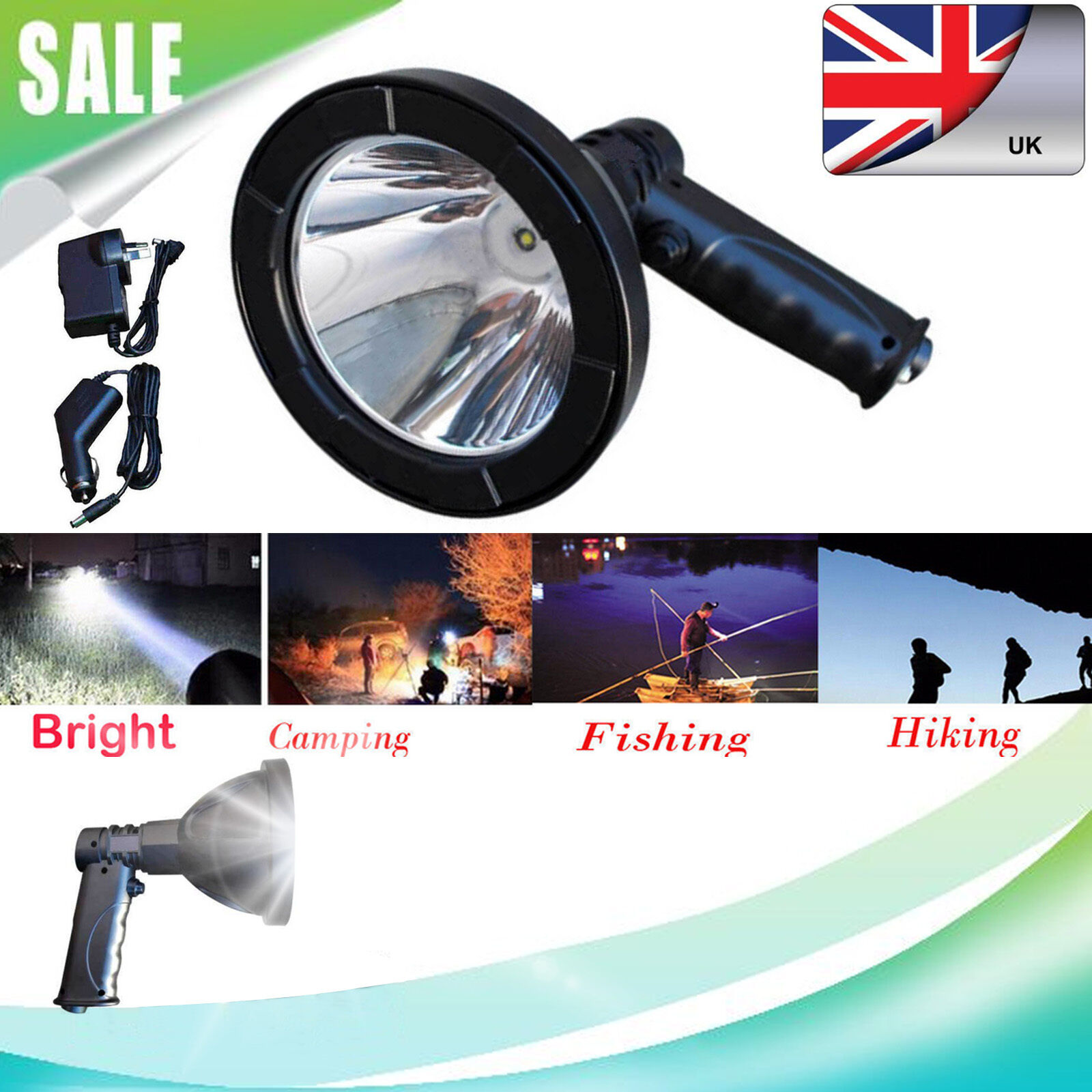 320W T6 LED Rechargable Handheld Spotlight Fishing Hunting Light Foxing Shooting