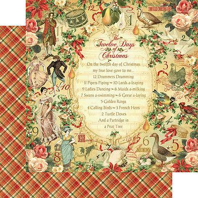 Graphic 45 Twelve Days Christmas Collection 12 x 12 Twelve Days Plaid Cardstock