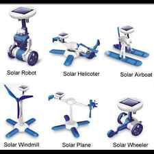 SOLAR POWERED 6 in 1 ROBOT WINDMILL HELICOPTER PLANE BOAT WHEELER~ No glue req.