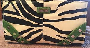 Miche-Classic-Purse-Bag-Shell-White-Black-Zebra-Stripes-Green-Accents-ss-B8