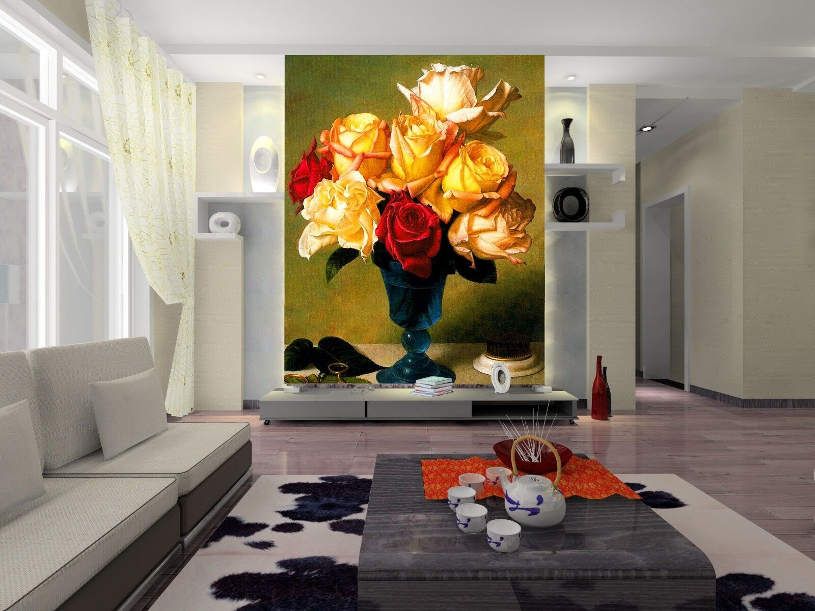 3D Fashion Rose Vase 41 Wall Paper Wall Print Decal Wall Deco Indoor Mural Carly