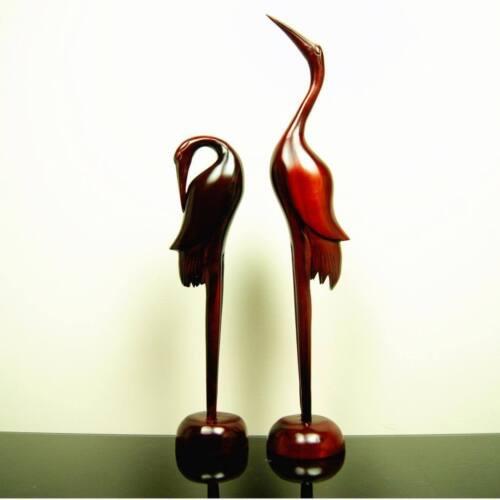 Paire romantique amour bois rouge oriental Grues Figurine Ornement artisanal fait main