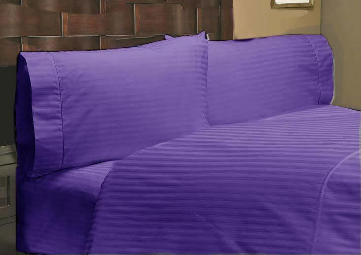 viola STRIPED 800 THREAD COUNT SHEET SET EGYPTIAN COTTON SELECT YOUR Dimensione