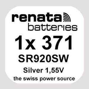 1x Renata 371 Uhren-Batterie Knopfzelle SR920SW AG6 Silberoxid Blisterware Neu