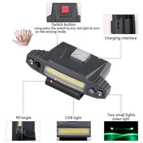 Rechargeable Sensor COB LED Clip-on Cap Hat Head Light Lamp Fishing Camping USB