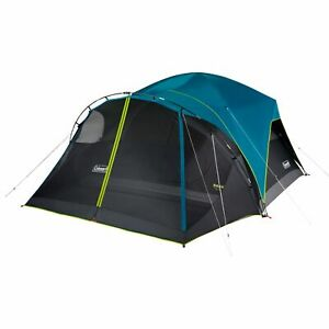 Coleman 8-Person Carlsbad Dark Room Dome Camping Tent with Screen Room, Blue