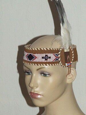 indianer,stirnband,perlen,leder,western,usa,weiß,federn,nordamerika,indianisch