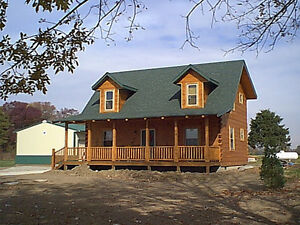 1296 sq ft log cabin home kit package ebay for Chalet style homes for sale
