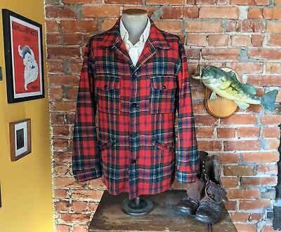 Men/'s Red Pendleton Button Down 70/'s vintage wool Winter shirt