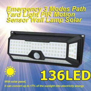 136-DEL-Solaire-PIR-Capteur-De-Mouvement-Mur-Lumiere-Exterieure-Lampe-de-jardin-4-cotes-Lumineux
