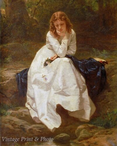 Young Woman Seated by a Stream by Wilhelm Amberg Art Water Trees 8x10 Print 0746