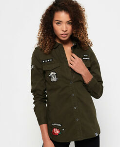 Image is loading New-Womens-Superdry-Military-Shirt-Deep-Olive b4696962066