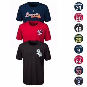 MLB-Majestic-Cool-Base-Name-amp-Number-Jersey-T-Shirt-Collection-Youth-Size-8-20