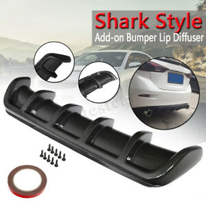 Universal-25-034-x5-034-Carbon-Black-Rear-Shark-Curved-Addon-Bumper-Lip-Diffuser-6-Fin