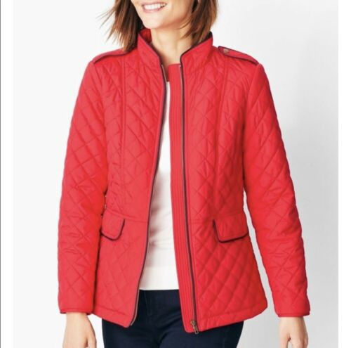 Talbots Quilted Military Coat Red Size P Lined $15