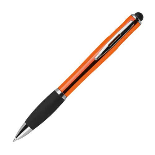 Farbe orange Touchpen Kugelschreiber mit Namensgravur mit weißem LED Licht