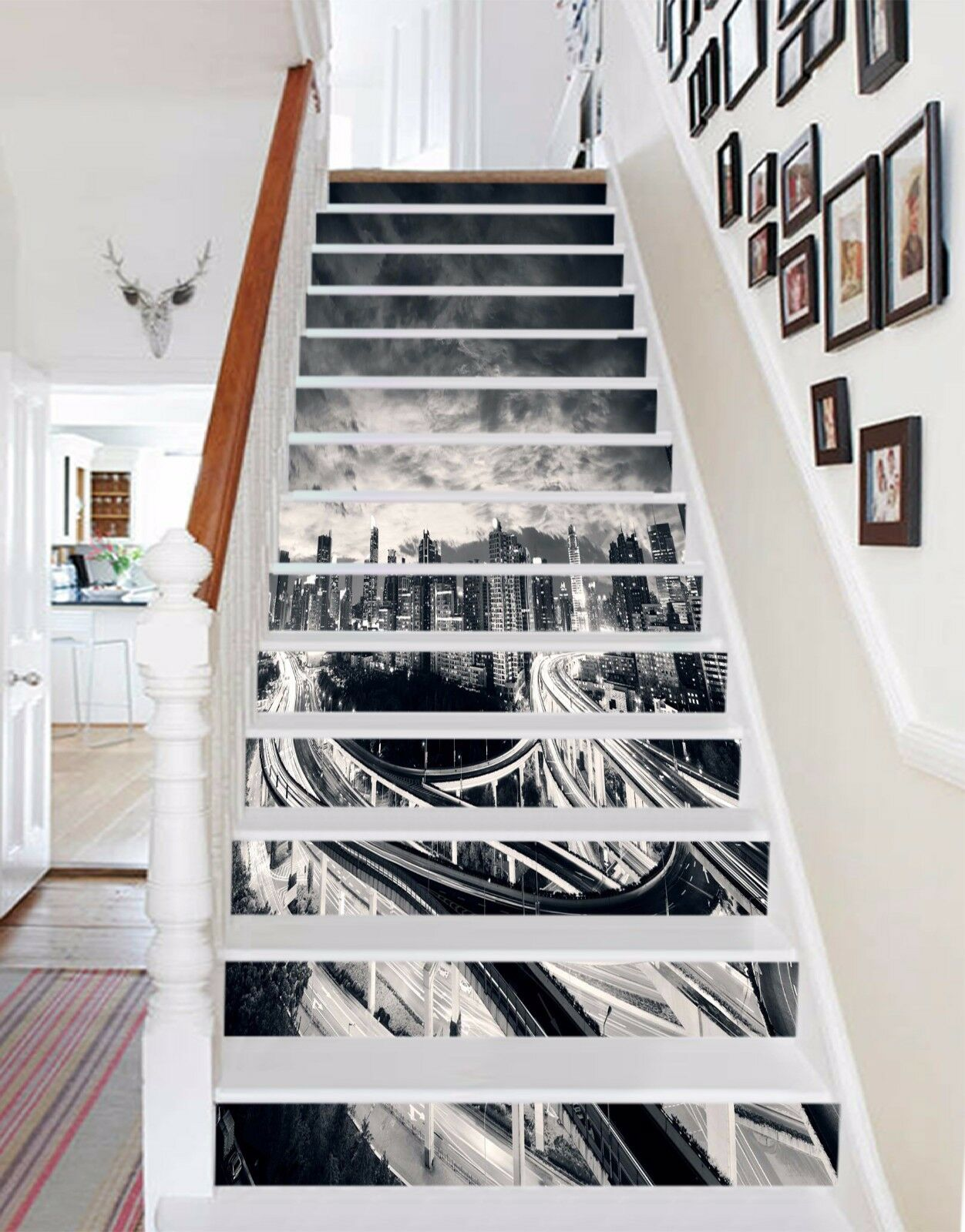 3D Cloudy City 220 Stair Risers Decoration Photo Mural Vinyl Decal Wallpaper UK