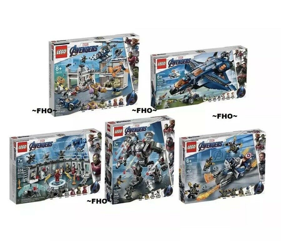 Lego Avengers Endgame 76131, 76126, 76125, 76124 and 76123 Bundle In Hand