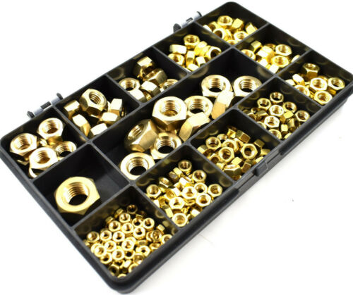 241 PIECE SOLID BRASS M3 M4 M5 M6 M8 M10 M12 METRIC ASSORTED HEX FULL NUTS KIT