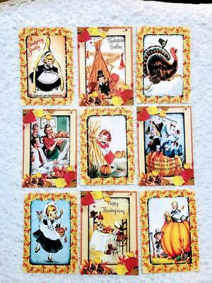 Set of 9 Cards~Vintage Halloween Shadows~Greeting Card Toppers~Card Making~#143N