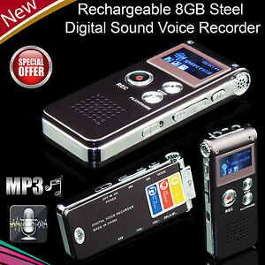 Digital-Sound-Voice-Recorder-8GB-Rechargeable-Steel-Dictaphone-MP3-Player-Record