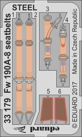 Eduard Photoetch Zoom 1:32 Fw 190A-8 Seatbelts Steel EDP33179