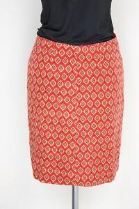 VTG-Veneziano-Cotton-Velvet-Skirt-8-Red-Diamond-Print-S-Hook-Clasp-Above-Knee