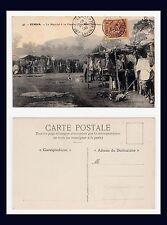 FRANCE COLONIAL GUINÉE FRANÇAISE KINDIA LE MARCHE A LA VIANDE POSTMARKED 1906