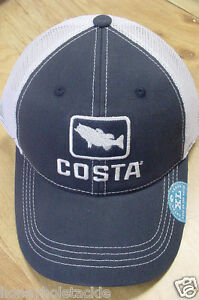 e68e9085a87 BRAND NEW COSTA DEL MAR BASS MESH ADJUSTABLE CAP HAT NAVY STONE