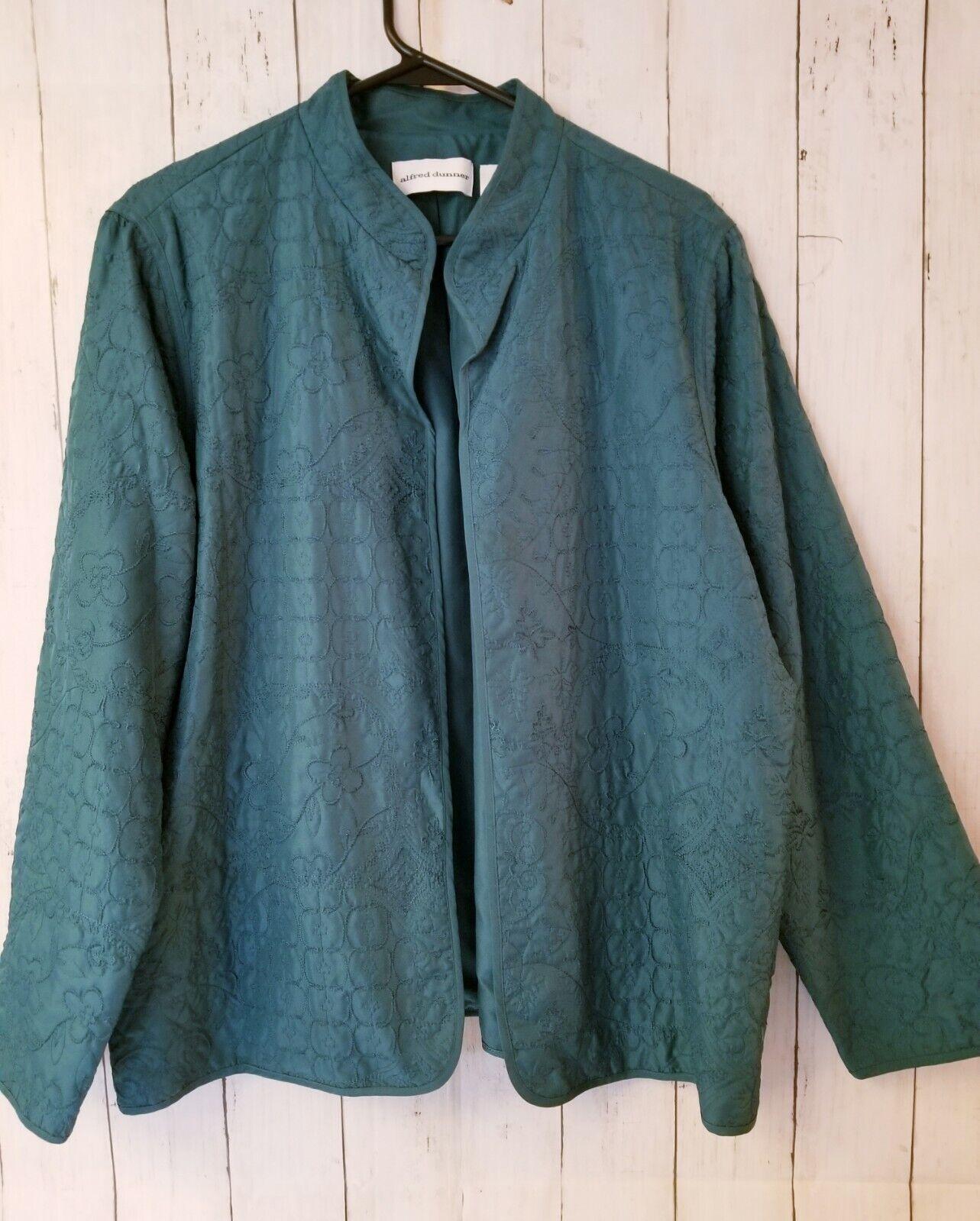 Alfred Dunner Womens 18 (XL) Open Front Lightweight Jacket Teal Blue embellish
