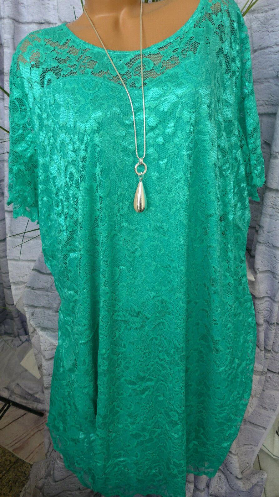Mia Moda Kleid Spitzenkleid blau Ton Gr. 62 Übergröße (336)