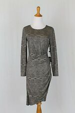 Adrianna Papell Gold & Black Lace Print Stretch Lame Long Sleeve Dress NWT PM