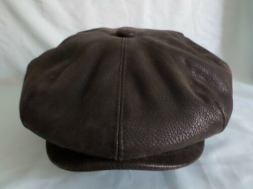 MENS 8 PIECE HAT IN BLACK FAUX LEATHER 8 PANEL NEWSBOY BAKER BOY CAP
