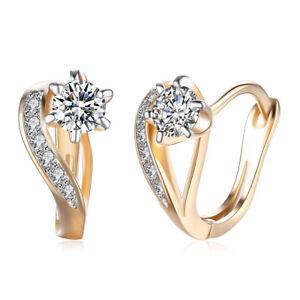 Gold-Plated-Clear-CZ-Infinity-Style-Huggie-Hoop-Womens-Earrings