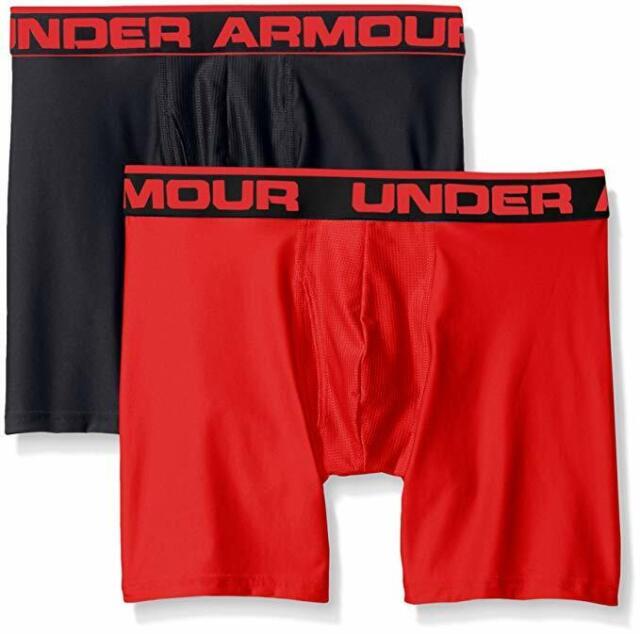 "4607b9fe59 New Under Armour Men's Original Series 6"" Boxerjock Black/Red X-Large Pack  of 2"