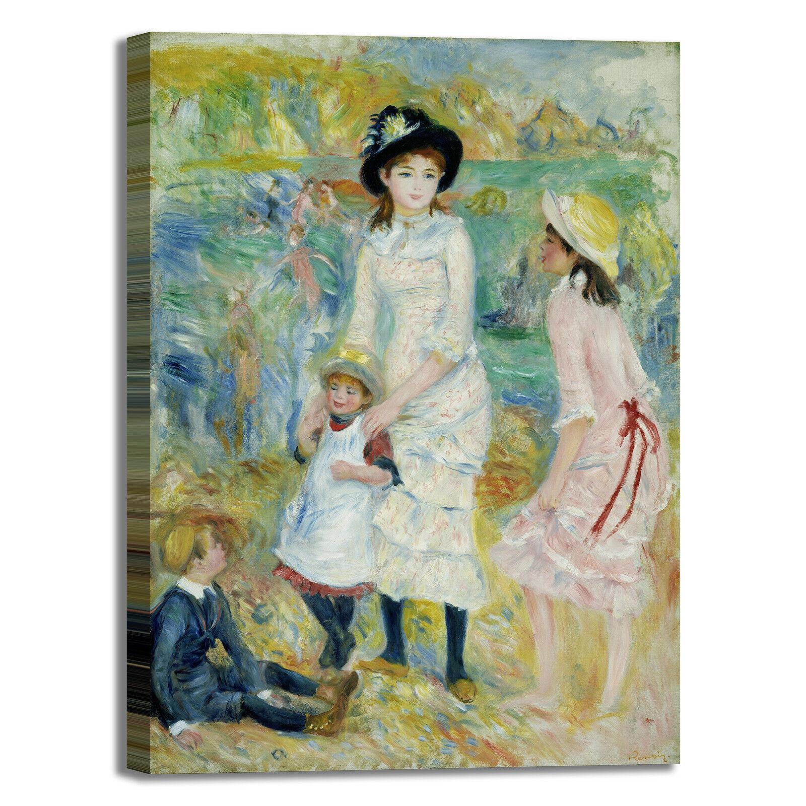 Reschwarz bambini in riva al mare quadro stampa tela dipinto telaio arroto casa