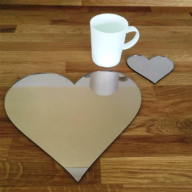 Heart Shaped Bronze Mirror Acrylic Placemats & Coasters, 4, 6 or 8, 27cm 10.5